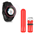 Clear LCD Screen Protect Cover Shield Film + Original Replacement Red Watchband for Garmin ForeRunner 225 FR225
