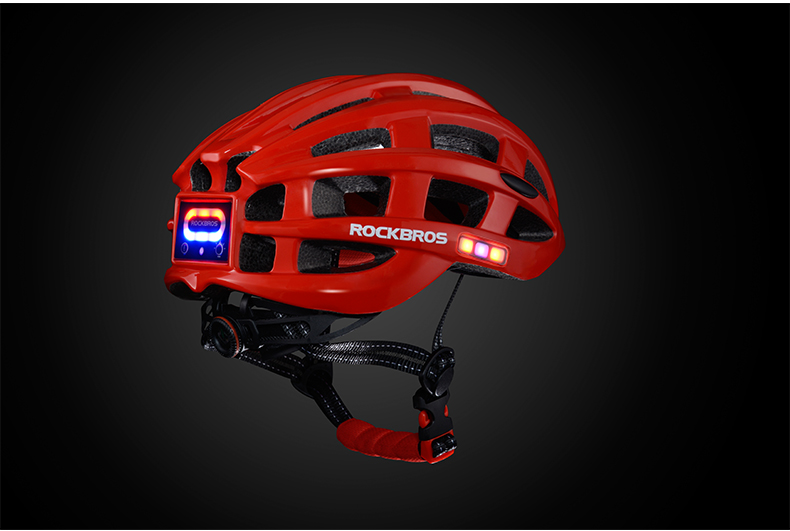 ROCKBROS Cycling Helmet with integrated front and side safety lights 22