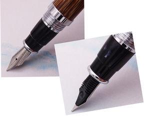 Image 3 - Duke 552 Executive Fountain Pen Natural Golden Stripe Bamboo Medium Nib Advanced Chrome Plating for Office Business School Gift
