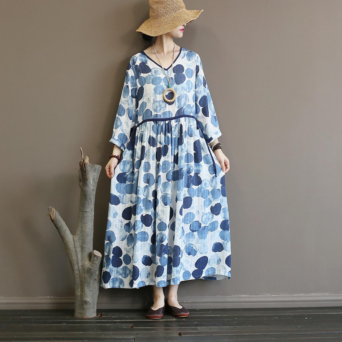 Johnature Women Bandage Dress Blue High Waist Robe 2019 New Fall Cotton Linen Women Clothes V