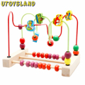 UTOYSLAND Baby kids toys Fashion Colorful Wooden Counting Traffic Bead Wire Maze Roller Coaster Wooden Educational Toys