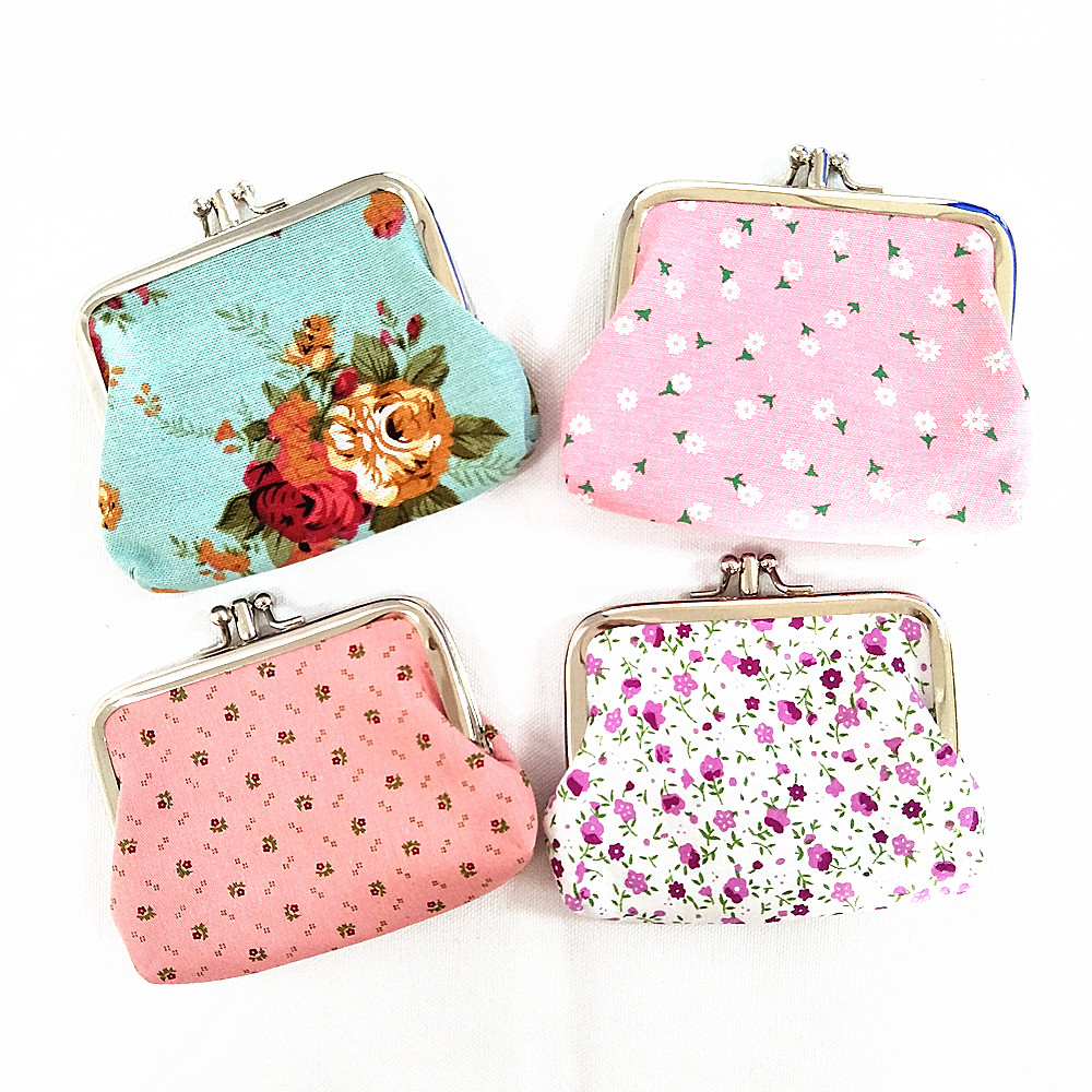 M007 Cute Cartoon Double Rose Canvas Wallet Short Fabric Floral Lady Purse Coin Purses Girl Women Student Gift Wholesale