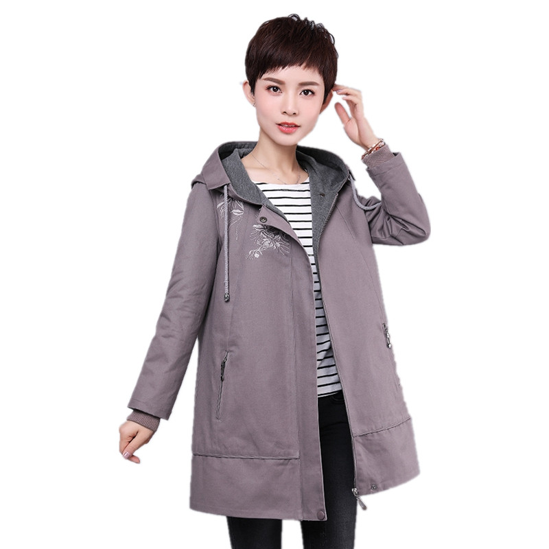 2018 new spring   trench   coat women zipper hooded solid color Embroidery ladies outerwear coats fashion elegant loose female tops