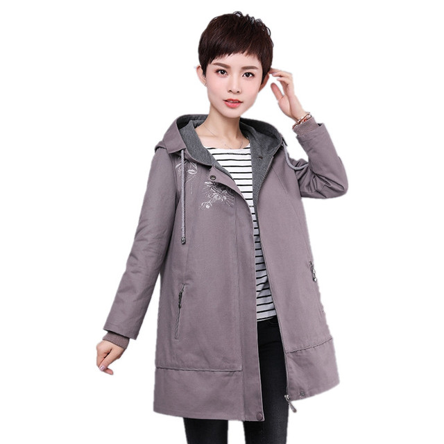4f0c6c331 2018 new spring trench coat women zipper hooded solid color ...