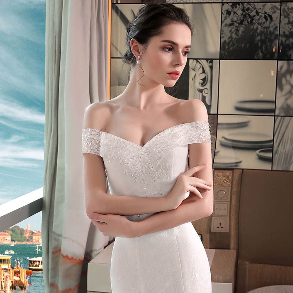 Купить с кэшбэком Ladybeauty New 2018 Sexy Mermaid Wedding Dresses Boat Neck Short Sleeve Lace Bride Dresses Wedding Gown
