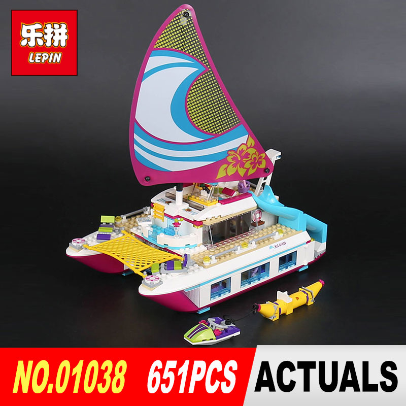 Lepin 01038 651Pcs The Sun Catamaran Set Girl Series 41317 Building Blocks Bricks DIY Toys Model For Children's New Year Gifts lepin 01038 friends girl series building blocks toys sunshine catamaran kids bricks toy girl gifts compatible legoing 41317