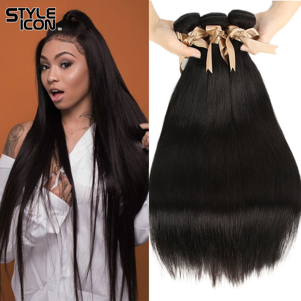 Styleicon Brazillian Straight Hair Bundles 100% 4 Bundles Straight Hair Weaving Cheap 8A Non-Remy Human Hair Extensions Natural