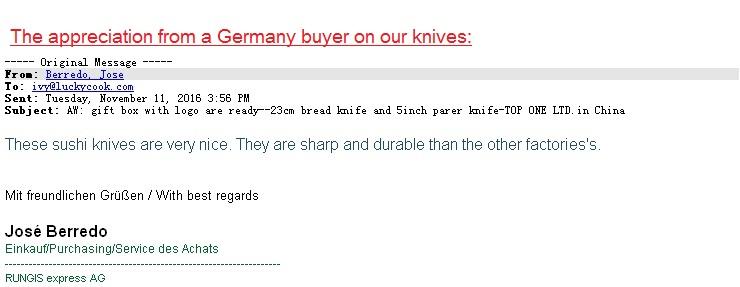 Germany buyer Sushi Sashi knive
