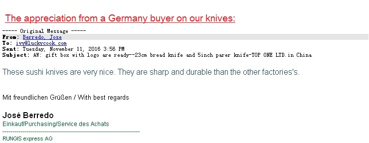 Germany buyer Sushi Sashi knive