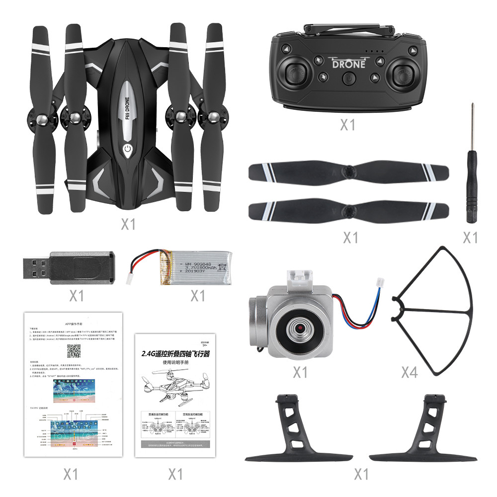 Image 4 - Drone F69 remote control wifi FPV,480P/10800P camera 6 Axis aerial toy 2.4G 4CH foldable aircraft photography pictures video APK-in RC Airplanes from Toys & Hobbies