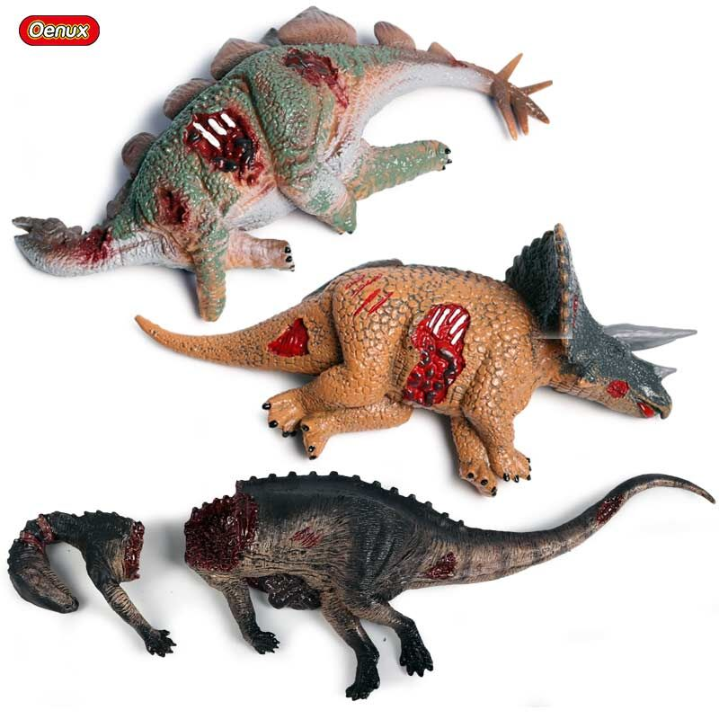 Oenux 3pcs/<font><b>set</b></font> Jurassic <font><b>Dinosaur</b></font> Corpse <font><b>Dinosaur</b></font> Body Model Action Figure Stegosaurus Triceratops Educational <font><b>Toys</b></font> For Boy Gift image