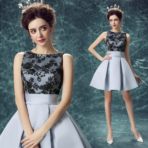 2016 new arrival stock maternity plus size bridal gown evening dress grey  lace satin sexy a line short sexy black 9503 cea0d15a8314