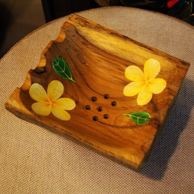 Импортированных Таиланд тик мыльницей творческий цветной рисунок твердой древесины мыльница моды раковины ванной комнаты декоративные Тарелки Мыла