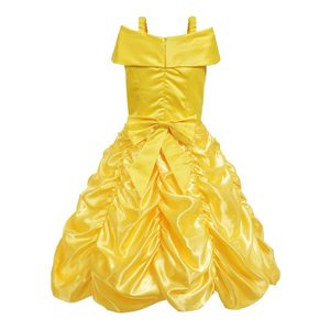 Image 2 - MUABABY Girls Belle Dress up Princess Costume Children Off Shoulder Layered Yellow Party Ball Gown Carnival Kids Dress