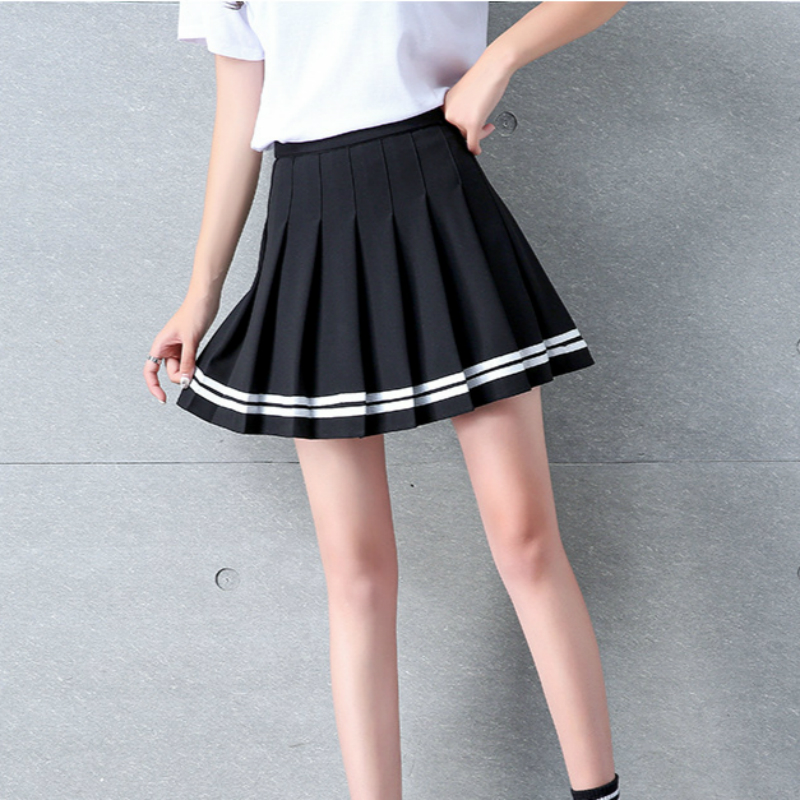 2019 Summer New Women Skirt Japanese Pleated Mini Skirts Harajuku Kawaii Stripe Skirt Pleated Schoolgirl Streetwear Skirts in Skirts from Women 39 s Clothing