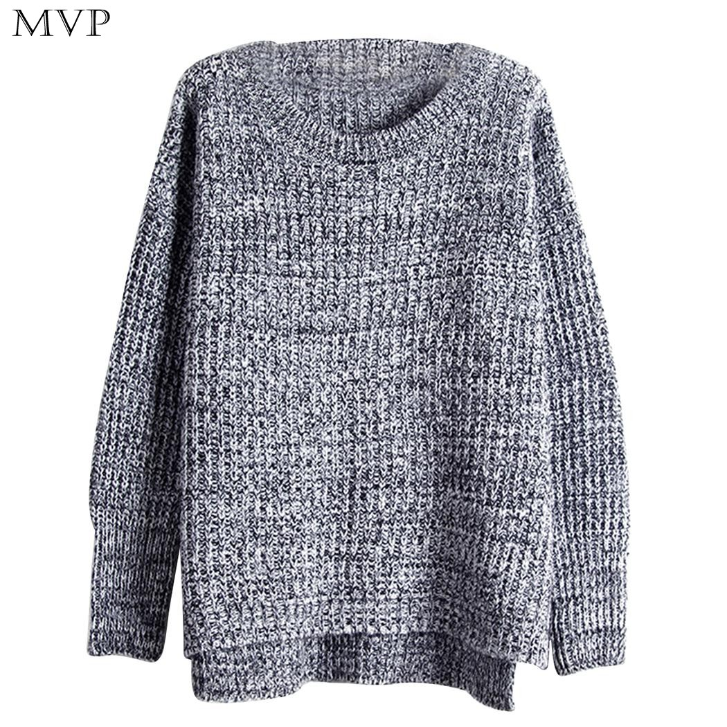 Winter Knitted Sweater Women 2017 Casual Christmas Sweater O Neck Long Sleeve Loose High Low Hem Women Sweaters and Pullovers