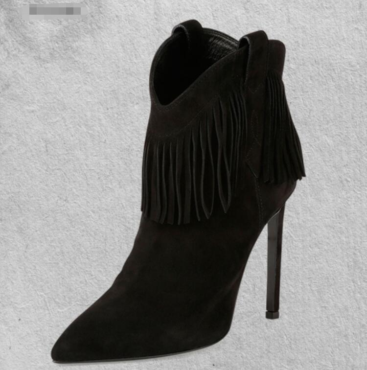Women Ankle Boots Thin High Heel Lace Up Pointed Toe Women Tassel Fringe Black Ladies Motorcycle Boots Size 34-43Women Ankle Boots Thin High Heel Lace Up Pointed Toe Women Tassel Fringe Black Ladies Motorcycle Boots Size 34-43