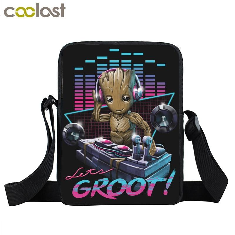 Anime Movie Groot / Porgs / Caesar Crossbody Bags For Men Women Handbag Boys Girls School Bags Best Gift Small Children Bookbag