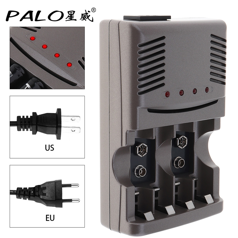 PALO 4 Slots Smart Quick NIMH NICD Battery Charger with Over Current Protection for NI-MH NI-CD 9V AA AAA Rechargeable Battery