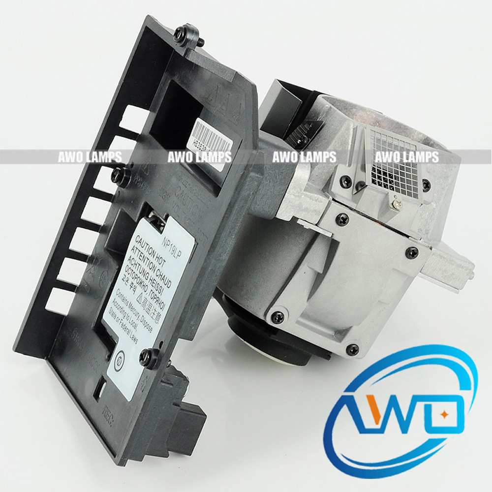 AWO Free Shipping NP19LP Replacement Projector Lamp with housing for NEC U250X/U260W projector bulb lh01lp lh 01lp for nec ht510 ht410 projector lamp bulbs with housing free shipping