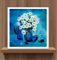 5d Diy 다이아몬드 그림 꽃 블루 국화 크로스 스티치 키트 다이아몬드 자수 모자이크 연인 키스 바느