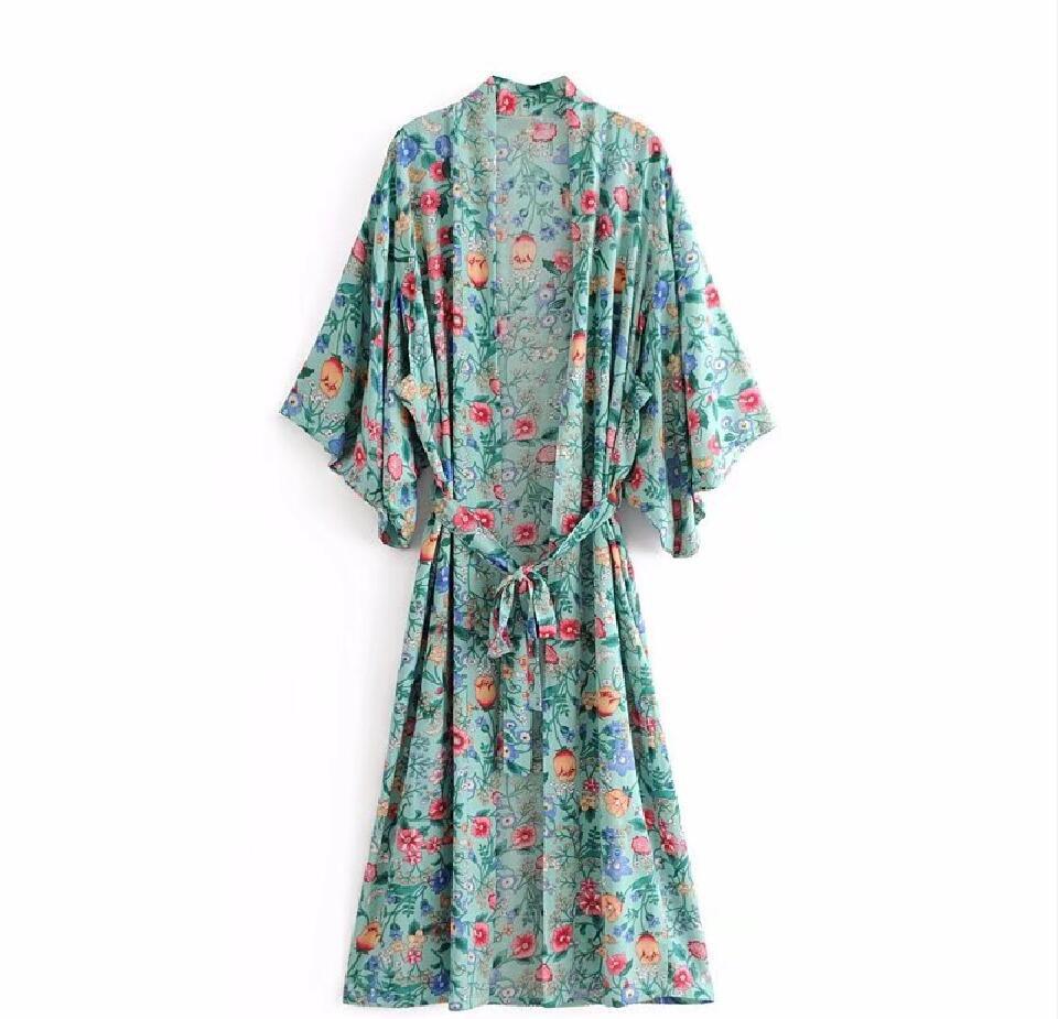 5175c78568558 TEELYNN 2018 boho Wrapped dress Green rayon floral print summer dresses V  neck kimono sleeve beach wear chic long women dresses -in Dresses from ...