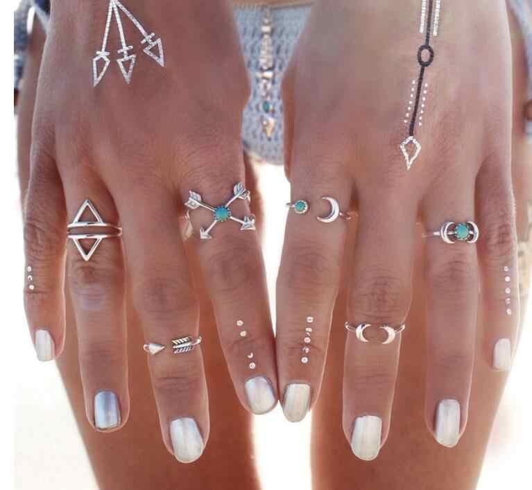 6 PCS Legal Do Vintage Turcos Praia Lua de Punk Conjunto Anel de Flecha Boho étnico Esculpido Cor Prata Midi Knuckle Ring Finger Charme anelli