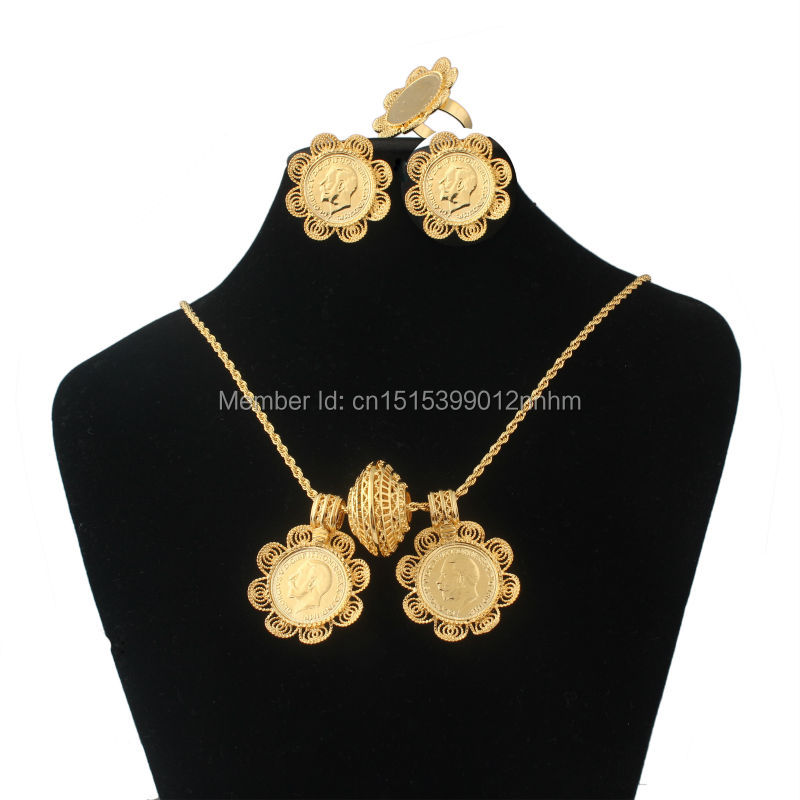 Newest Ethiopian coin jewelry sets pendantnecklaceearringsring