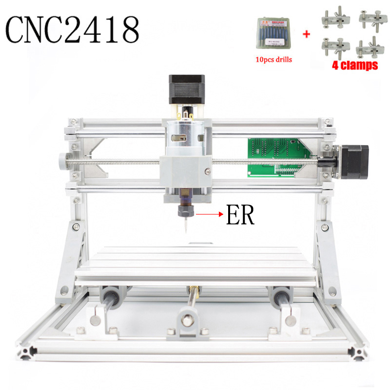 CNC 2418 ER GRBL control Diy CNC machine,working area 24x18x4.5cm,3Axis pcb pvc Milling machine,Wood Router Engraver cnc 5axis a aixs rotary axis t chuck type for cnc router cnc milling machine best quality