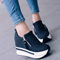 Fashion 2017 Women Casual Shoes Zipper Height Increasing Breathable Black Women Walking Flats Trainers Shoes Spring Autumn