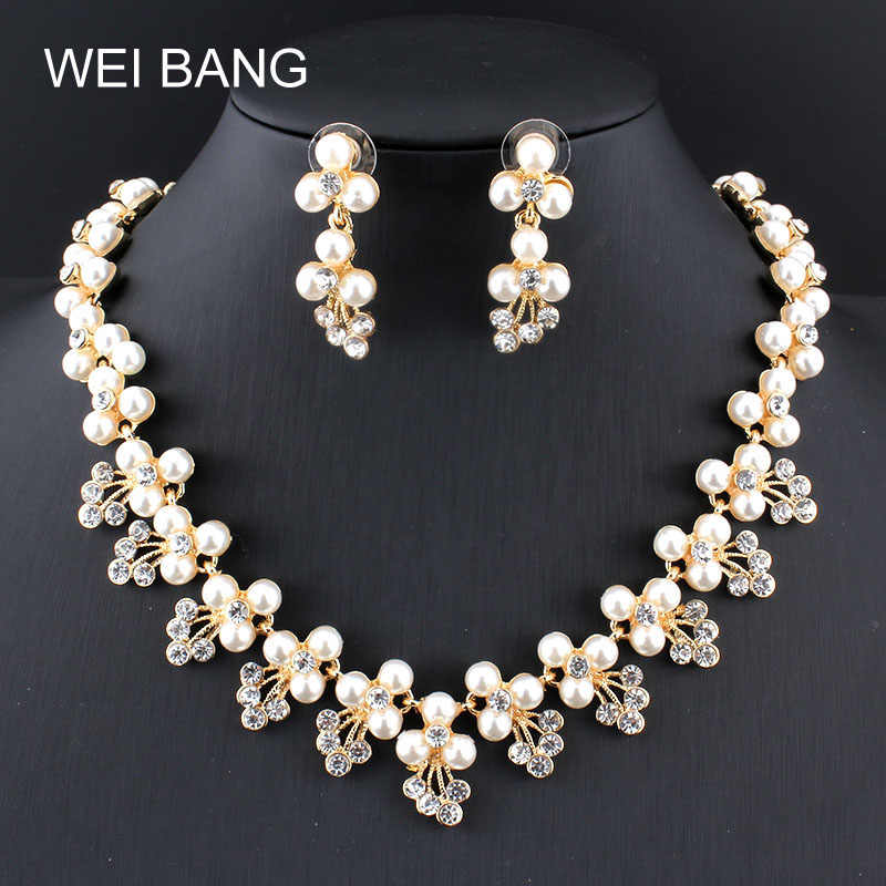 Fashion Bridal Jewelry Sets Pearl Gold/Silver color Earrings Necklace Set Rhinestone Gift Jewelry For Wedding Dress Accessories
