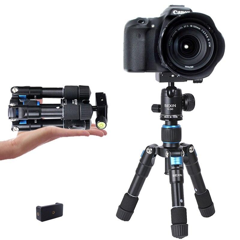 Trépied portatif d'appareil-photo de voyage en aluminium avec la tête de boule Mini trépied Flexible de bureau pliable pour la photographie d'appareil-photo de support de téléphone