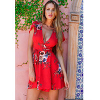 Bohemian Summer Holiday Style Mini Dress V Neck Short Sleeve Lace Up Tunic Red Floral Print