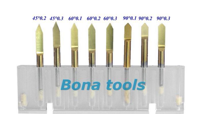 Купить с кэшбэком 10pcs shank 3.175mm, angle 45, tip 0.1mm wood milling cutter set, cnc cutting engraving bit, coated router bits v shaped cutters