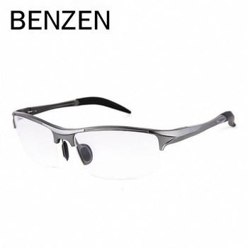 BENZEN Aluminium Magnesium Männer Brille Rahmen Metall Halb Rahmen Brillen Männlichen Computer Optische Brillen Mit Fall 5051