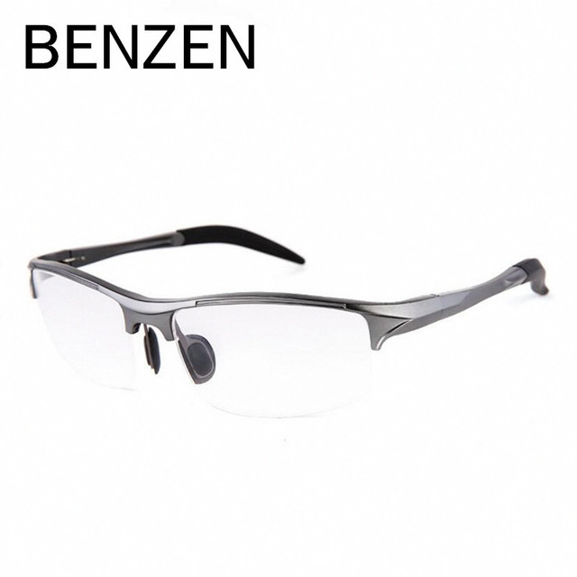 BENZEN Aluminum Magnesium Men Glasses Frame Metal Sport Half Frame Eyeglasses Male Computer Optical Spectacles With Case 5051