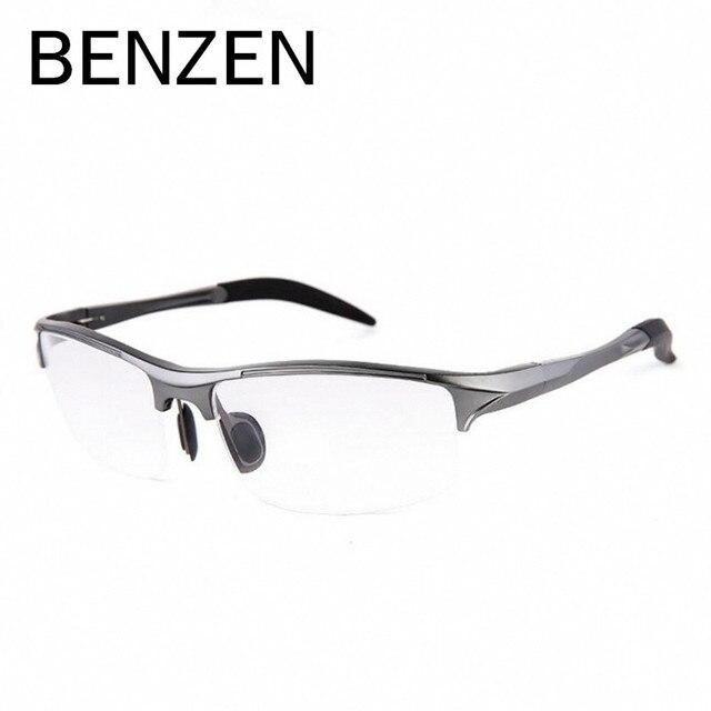 Benzen de aluminio magnesio hombres gafas de marco de metal del deporte un medio marco de anteojos ópticos gafas informáticos masculinos con el caso 5051