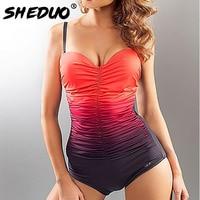One Piece Swimsuit Women Plus Size Monokini Swimwear 2017 Vintage Retro Large Size Monokini Female Bathing