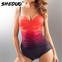 One Piece Swimsuit Women Plus Size Monokini Swimwear 2017 Vintage Retro Large Size Monokini Female Bathing