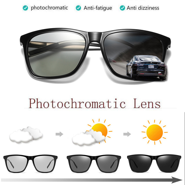 08c0a4eca5c3 ZJHZQZ Photochromatic Sunglasses Men Retro Polarized Driving Vintage Fashion  Shades Transition Chameleon Lens