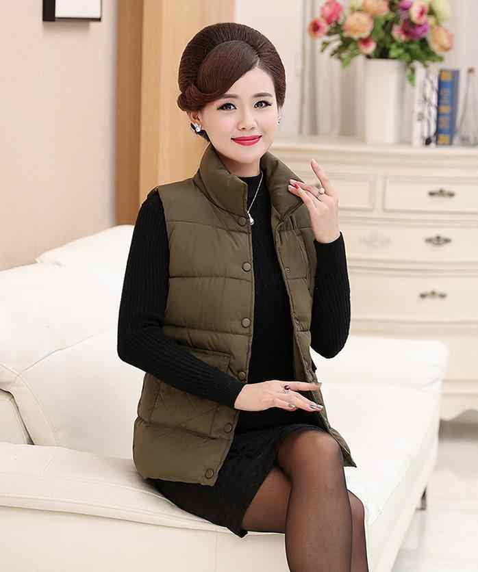 Female Spring Plus Size Thick Down Vests Woman Autumn
