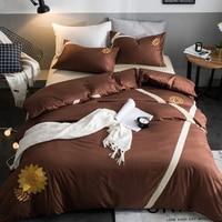Retro Style Brown Golden Sun Flower Pattern Simple Textile New Product 3 4 Pcs Bedding Set