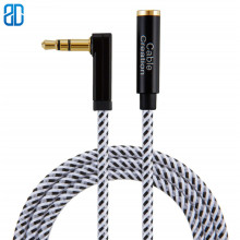 3.5mm Headphone Male to Female Extension Stereo Audio Cable Adapter, 90 Degree Right Angle Aux 1.5/3/6/10/15ft