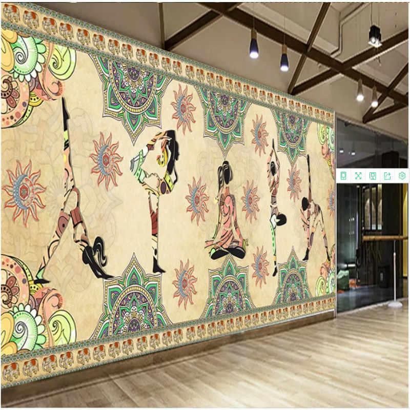 Asia Tenggara Thailand-Gaya India Yoga Studio Dance Studio Kesehatan Museum Lukisan Dinding Wallpaper