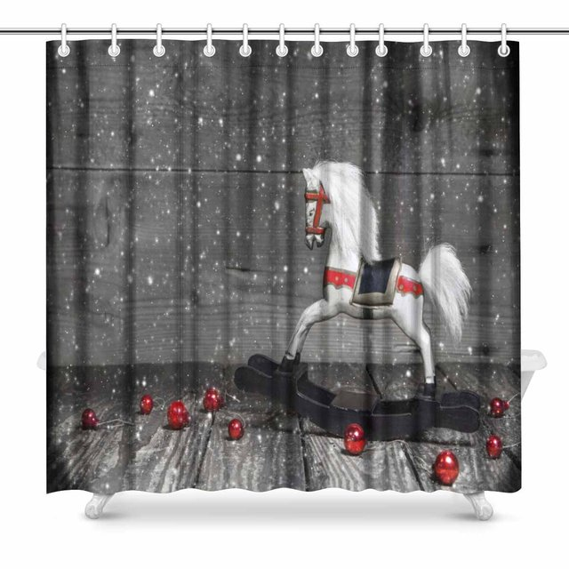 Aplysia Old Wooden Horse Shabby Chic Christmas Decoration Country House Image Bathroom Shower Curtain Accessories 72