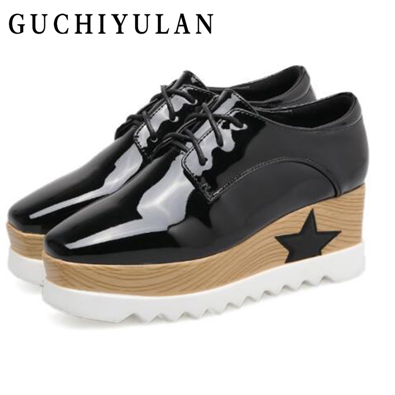 GUCHIYULAN Spring women flats shoes platform sneakers shoes Genuine Leather casual shoes slip on flats heels creepers moccasins 2018 platform shoes woman thick heels oxford shoes for women patent leather creepers casual oxfords spring flats women shoes