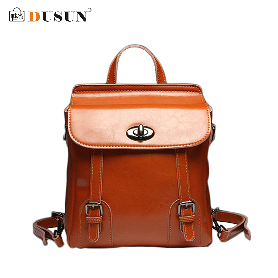 DUSUN Luxury Genuine Leather Backpack Brand Design Backpack Women High Quality Women School Bag Retro Fashion Women Backpack dusun women high quality oxford backpack brand design mochila women school bag for teenage girls fashion women backpack hot sale