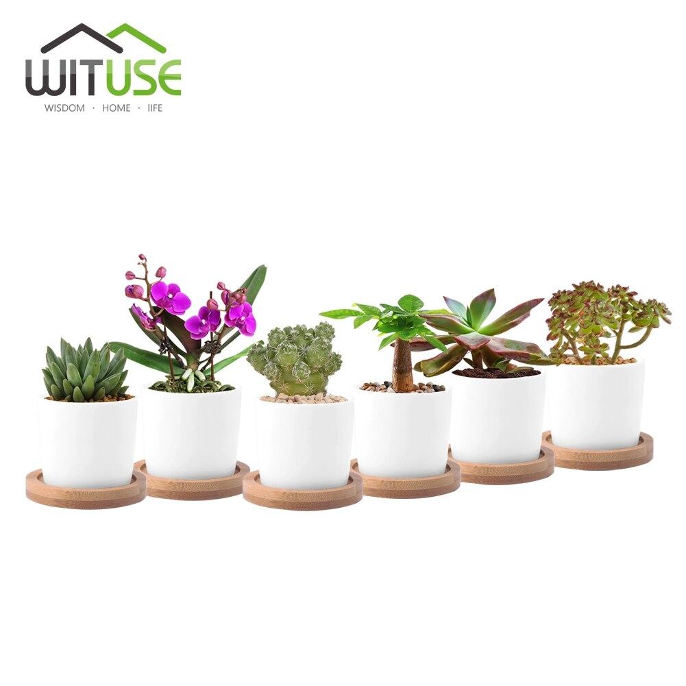 New Round Ceramic Flowerpot Succulent Planter Teapot Like Bonsai Pots Flower Pot DIY Desk Home Office Garden Decoration 6pcs