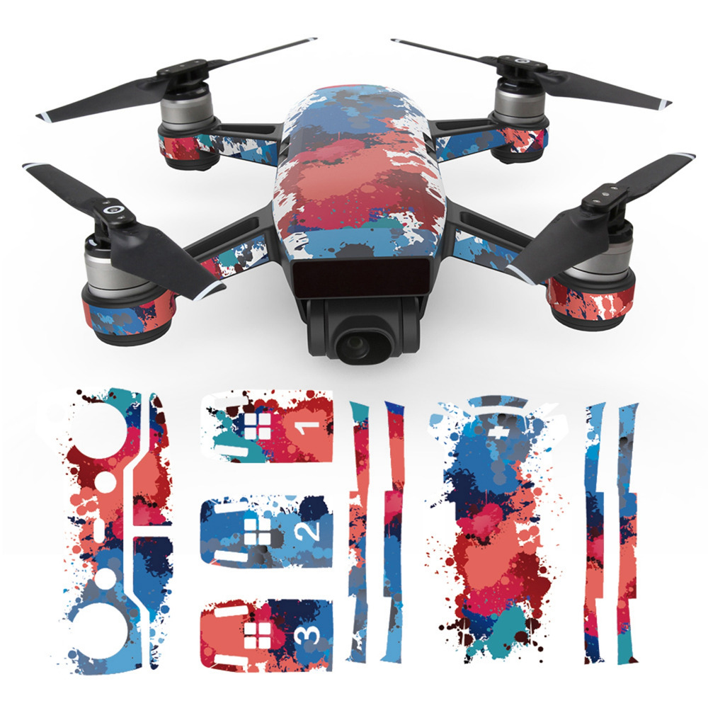 MASiKEN PVC Waterproof Sticker Decals Skin Protector For DJI Spark Drone 1