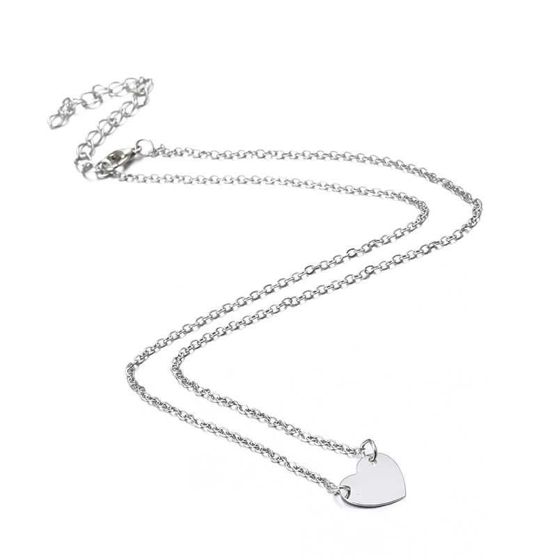 X179 טרנדי פשוט קובע לנשים בצורת לב זהב/כסף צבע שרשרת שרשרת & צמיד 2pcs תכשיטי סט נשי